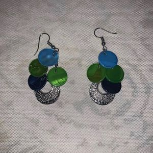 DANGLING EARRINGS WORN ONCE BLUE AND GREEN